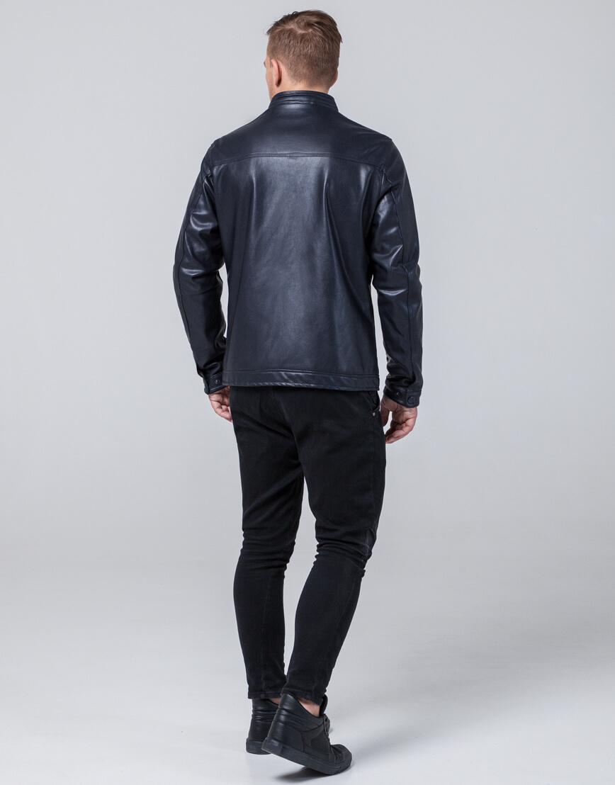 Темно-синяя куртка стильная осенне-весенняя модель 2825 фото 4