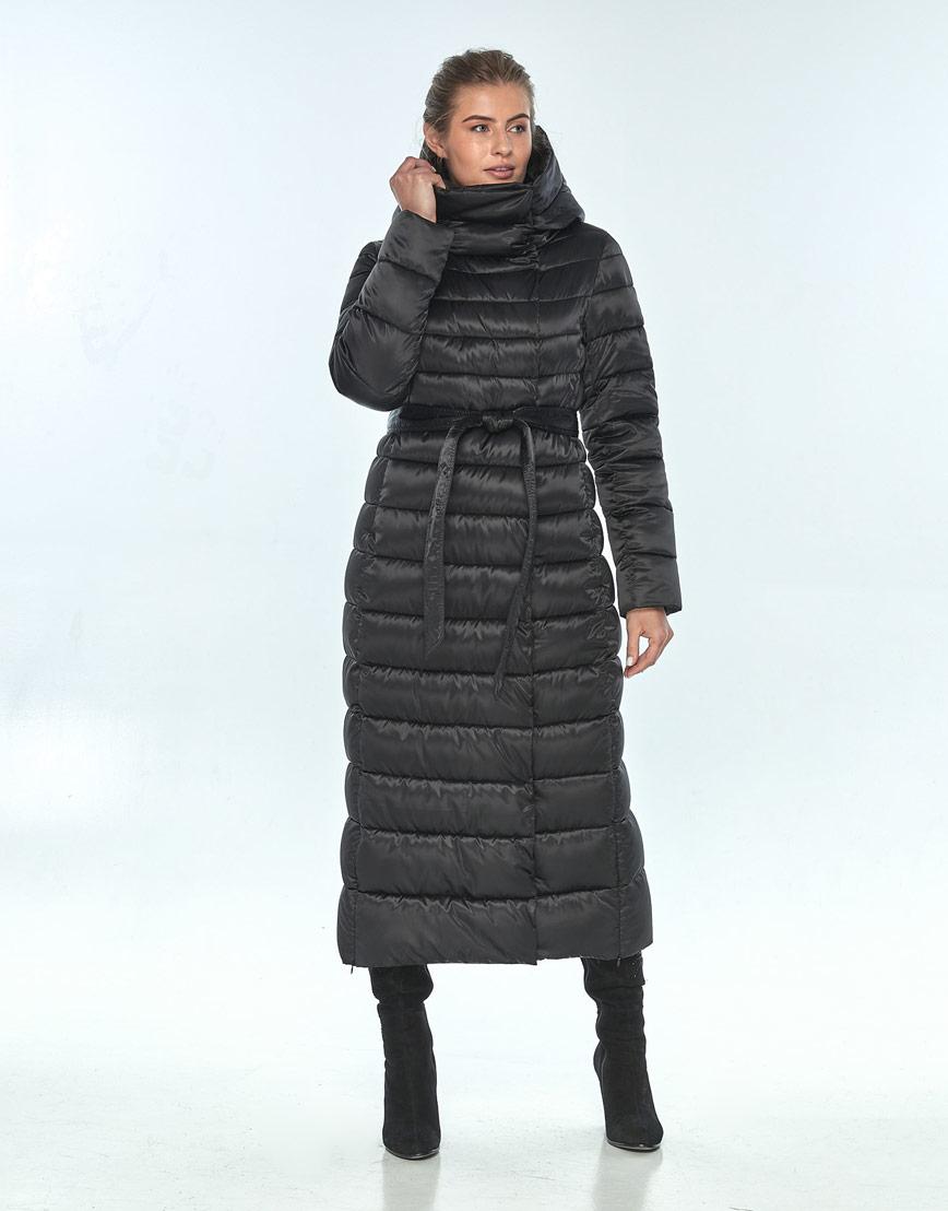 Чёрная куртка с капюшоном женская Ajento зимняя 23320 фото 2