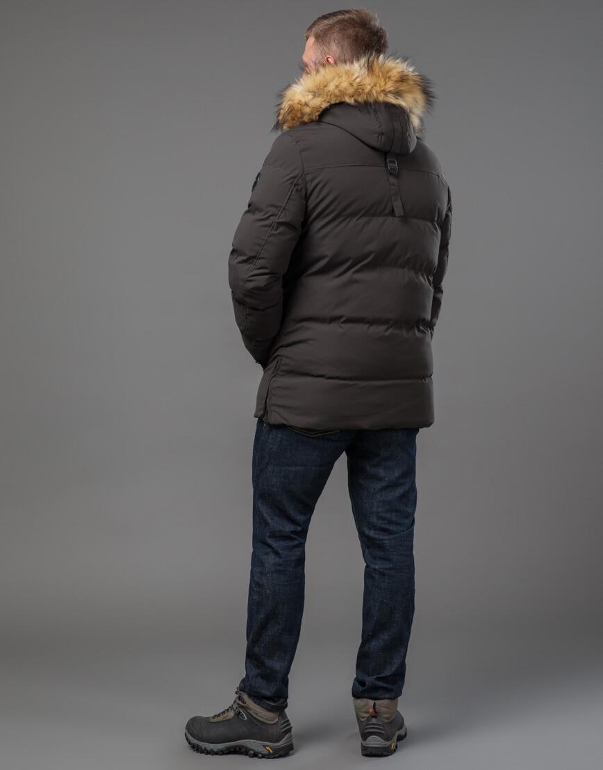 Мужская куртка цвета кофе качественная модель 78270 фото 4