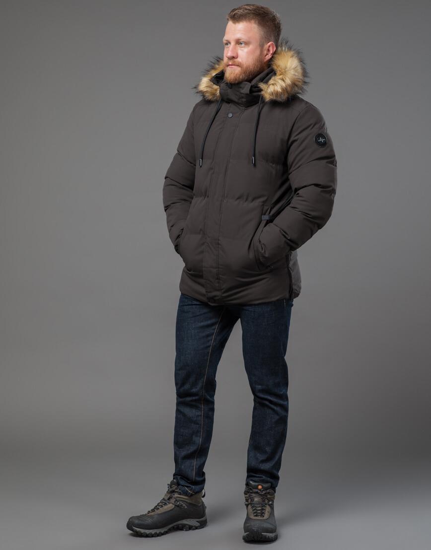 Мужская куртка цвета кофе качественная модель 78270 фото 1