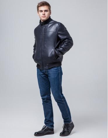 Куртка молодежная модного дизайна темно-синяя модель 2970 фото 1