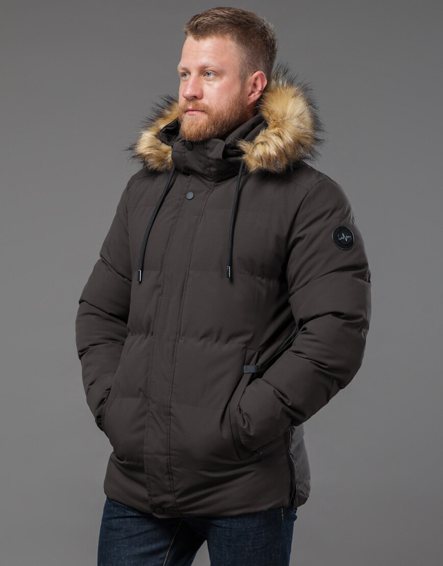 Мужская куртка цвета кофе качественная модель 78270 фото 3