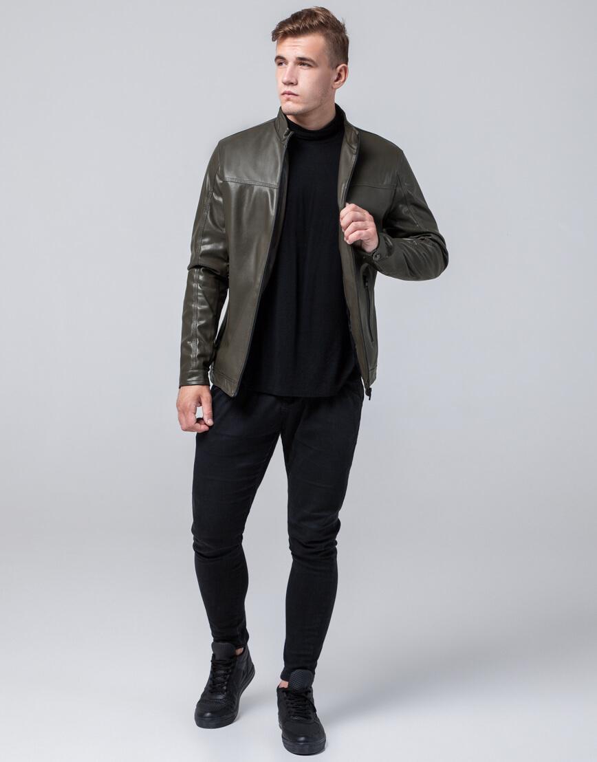 Осенне-весенняя куртка высококачественная цвета хаки модель 2825 фото 2