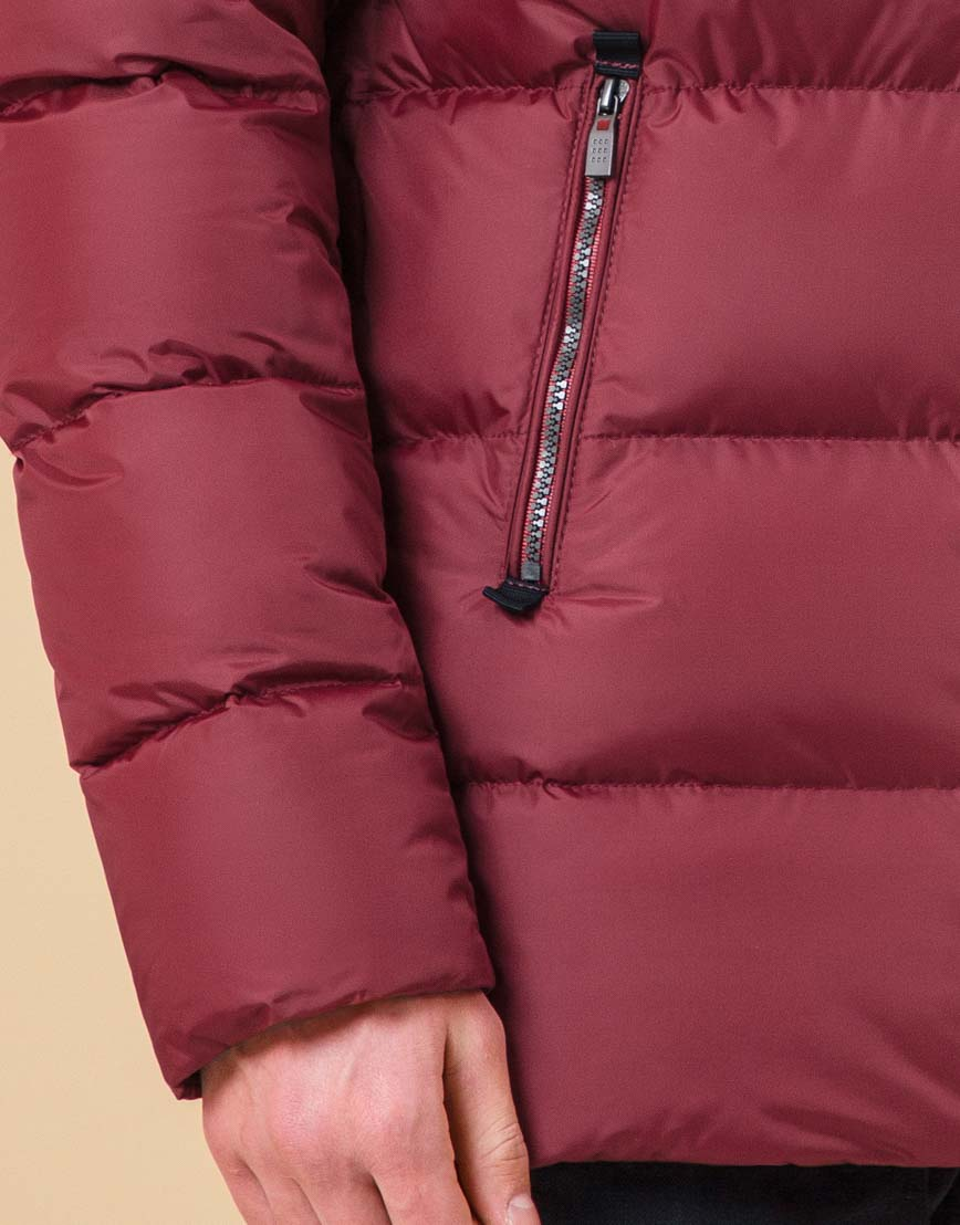 Стильная подростковая куртка цвет бордово-красный модель 71293