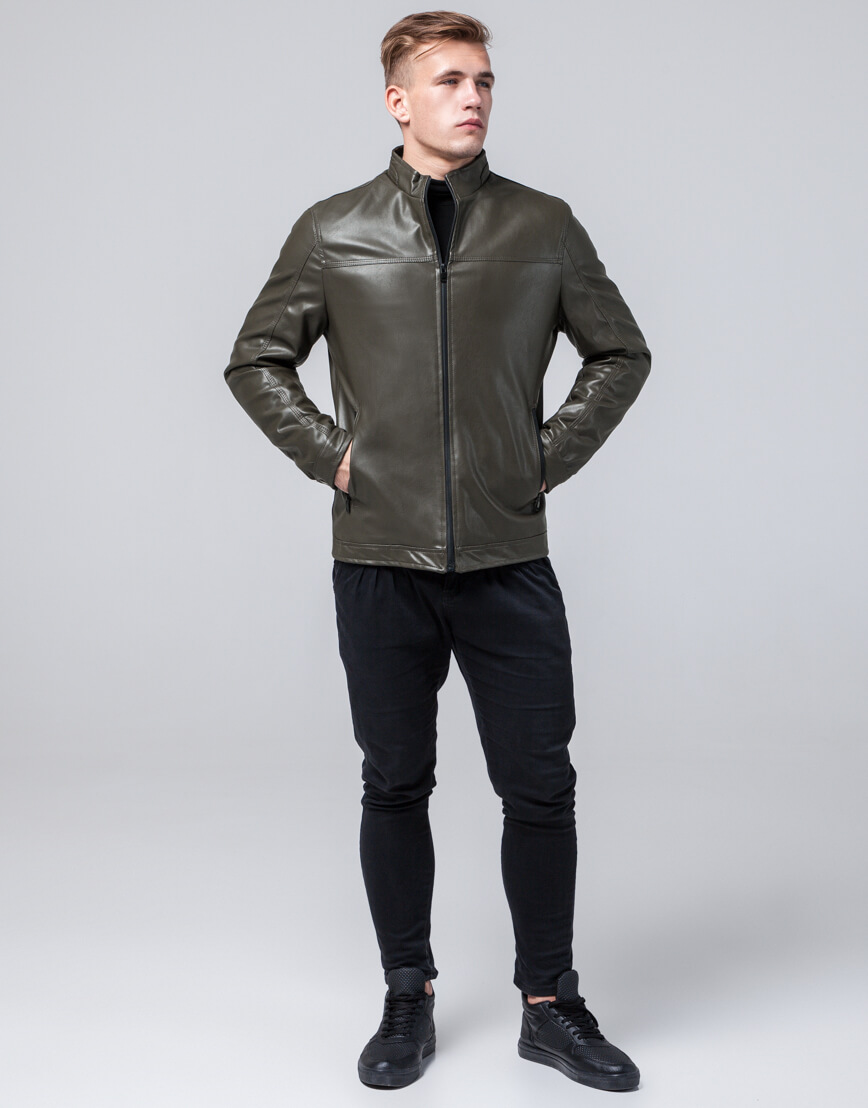 Осенне-весенняя куртка высококачественная цвета хаки модель 2825 фото 3