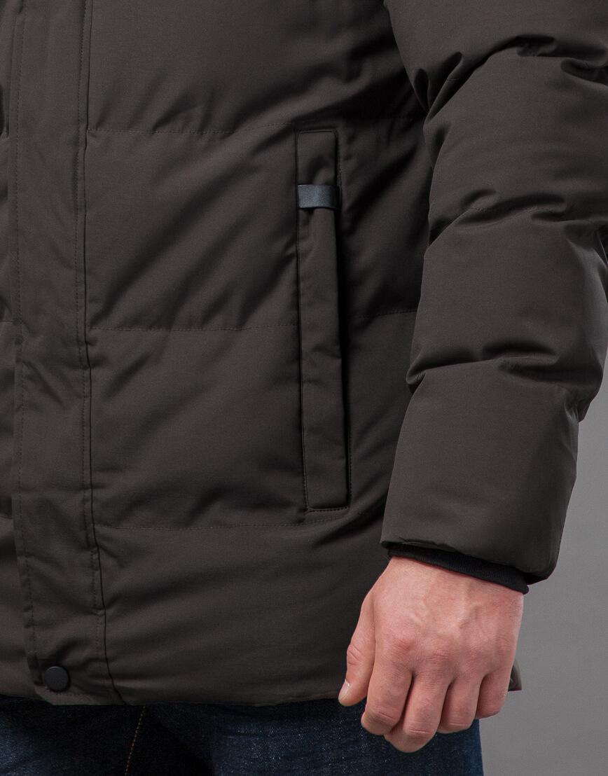 Мужская куртка цвета кофе качественная модель 78270 фото 6