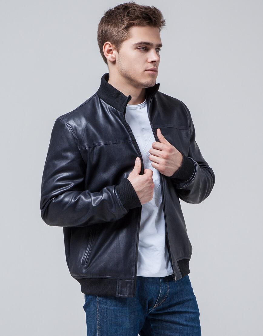 Куртка молодежная модного дизайна темно-синяя модель 2970 фото 2