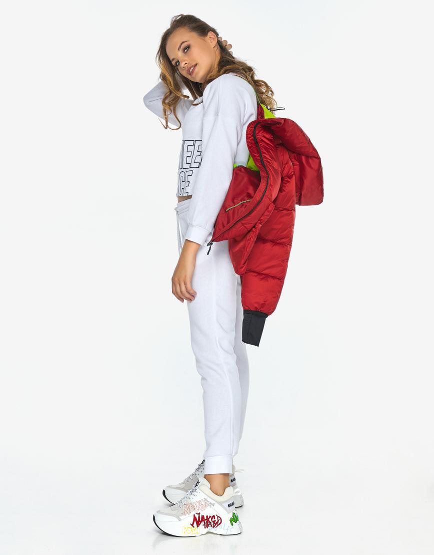 Куртка пуховик Youth трендовый молодежный рубиновый модель 26370 фото 2