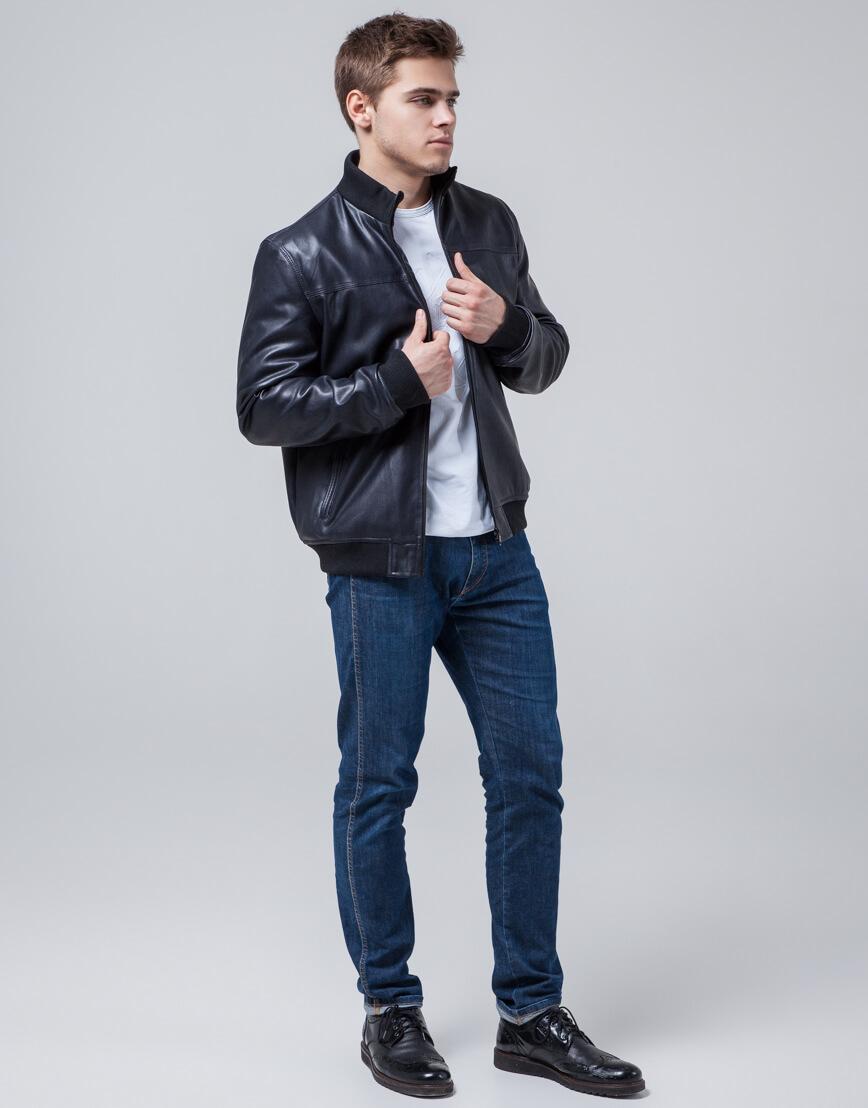 Куртка молодежная модного дизайна темно-синяя модель 2970 фото 3