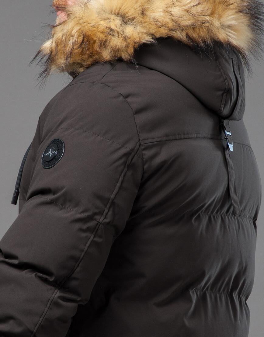 Мужская куртка цвета кофе качественная модель 78270 фото 7