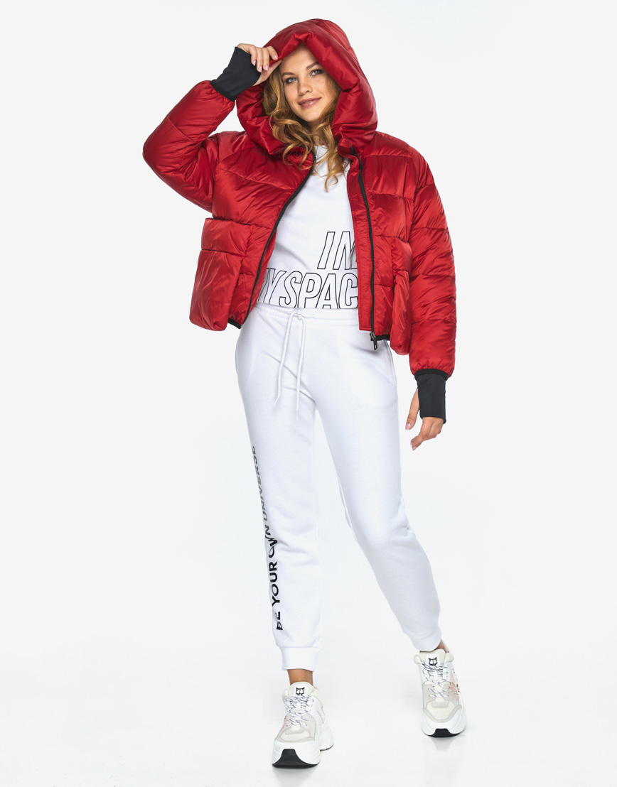 Куртка пуховик Youth трендовый молодежный рубиновый модель 26370 фото 3