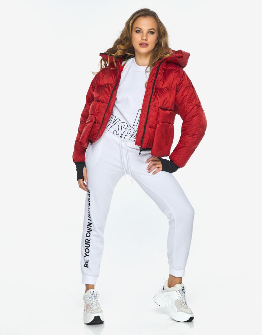 Куртка пуховик Youth трендовый молодежный рубиновый модель 26370 фото 4