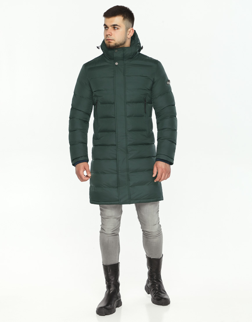Темно-зеленая куртка современного дизайна мужская модель 35680