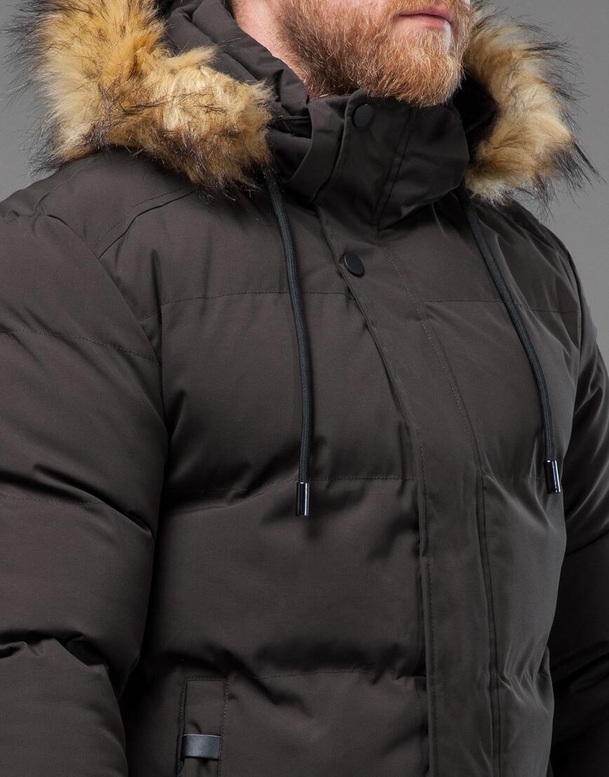 Мужская куртка цвета кофе качественная модель 78270 фото 5
