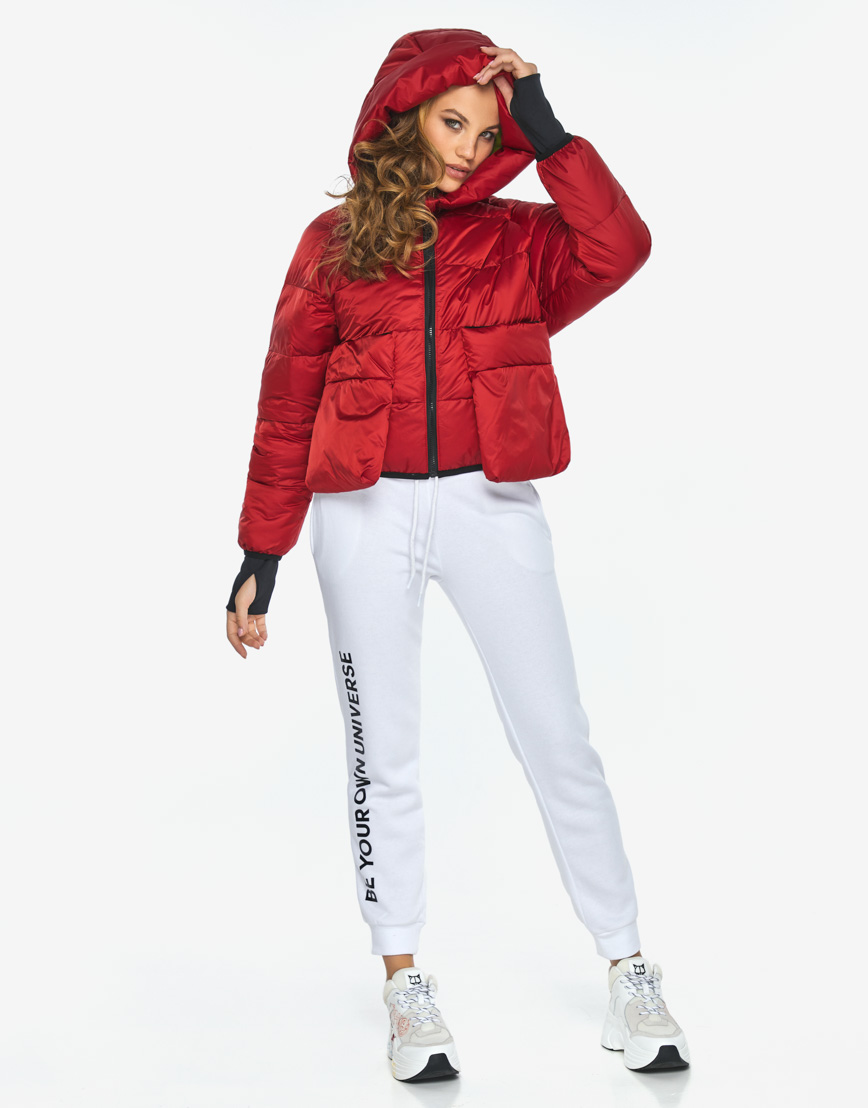 Куртка пуховик Youth трендовый молодежный рубиновый модель 26370 фото 5