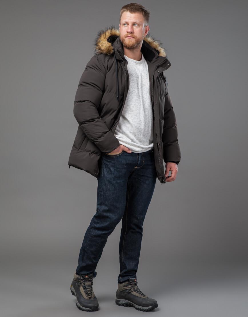 Мужская куртка цвета кофе качественная модель 78270 фото 2