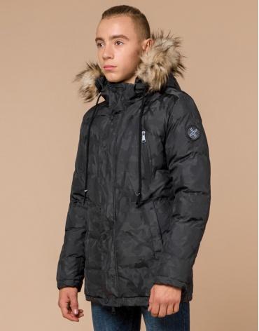 Подростковая темно-серая куртка дизайнерская модель 25110 оптом