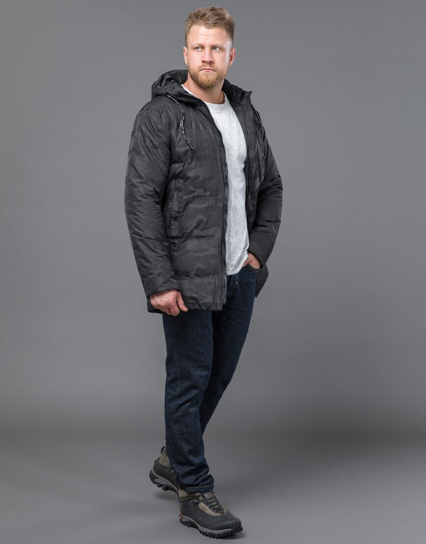 Дизайнерская куртка зимняя черная модель 59910 фото 3