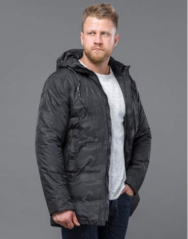 Дизайнерская куртка зимняя черная модель 59910