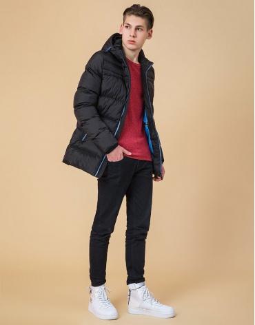 Подростковая куртка оригинальная цвет черный-электрик модель 71293 оптом фото 1