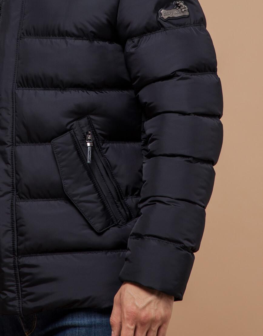 Черная куртка зимняя для мужчин модель 30380 оптом