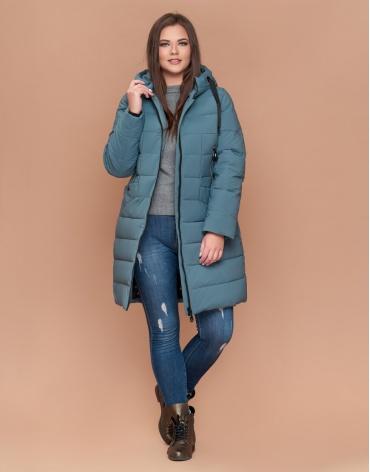 Современная женская куртка большого размера цвет светлая бирюза модель 25275