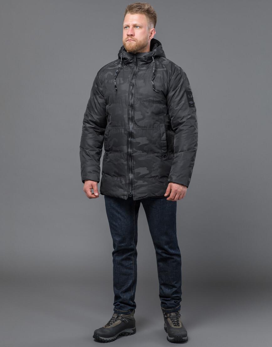 Дизайнерская куртка зимняя черная модель 59910 фото 2