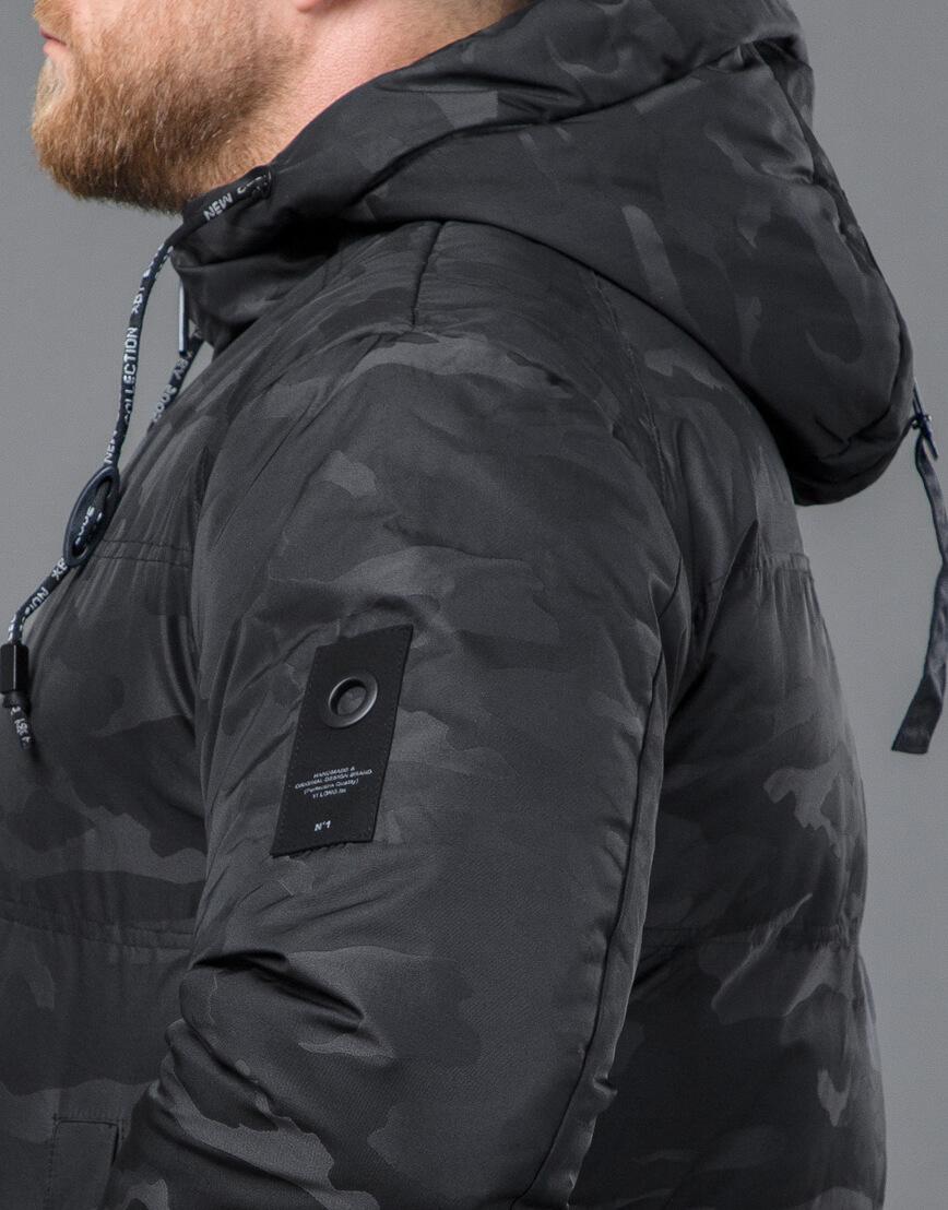 Дизайнерская куртка зимняя черная модель 59910 фото 7