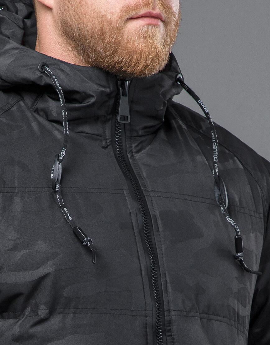 Дизайнерская куртка зимняя черная модель 59910 фото 5