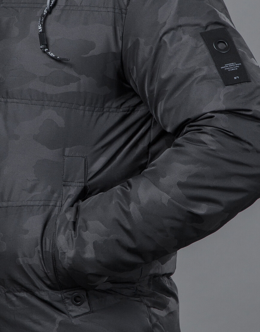 Дизайнерская куртка зимняя черная модель 59910 фото 6