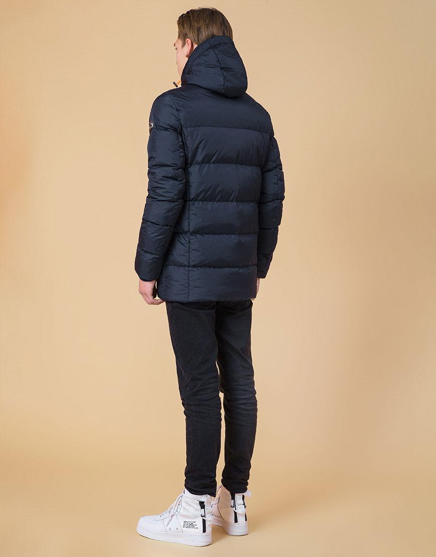 Модная куртка подростковая цвет темно-синий-оранжевый модель 71293 оптом фото 4
