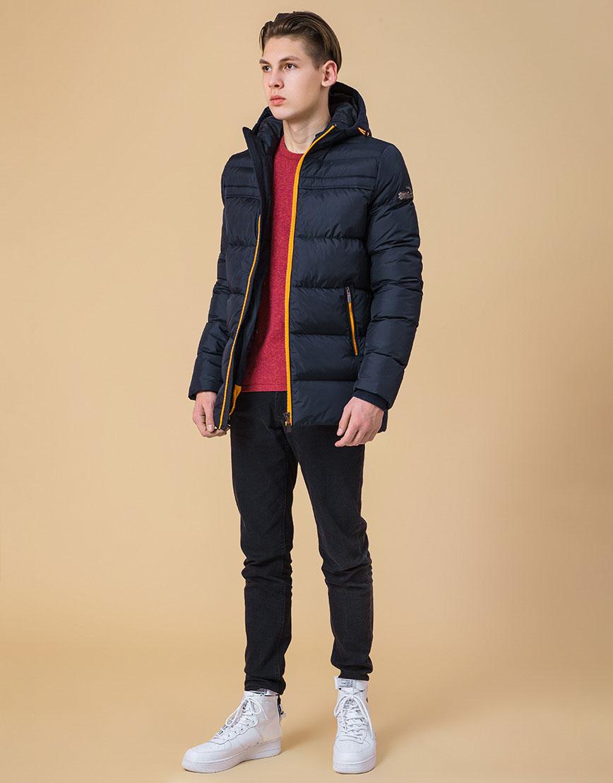 Модная куртка подростковая цвет темно-синий-оранжевый модель 71293 оптом фото 2