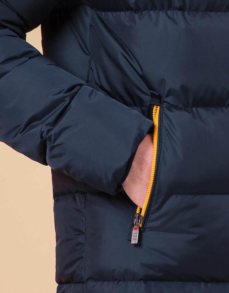 Модная куртка подростковая цвет темно-синий-оранжевый модель 71293 оптом фото 6