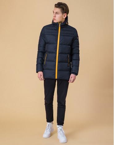 Модная куртка подростковая цвет темно-синий-оранжевый модель 71293 оптом фото 1