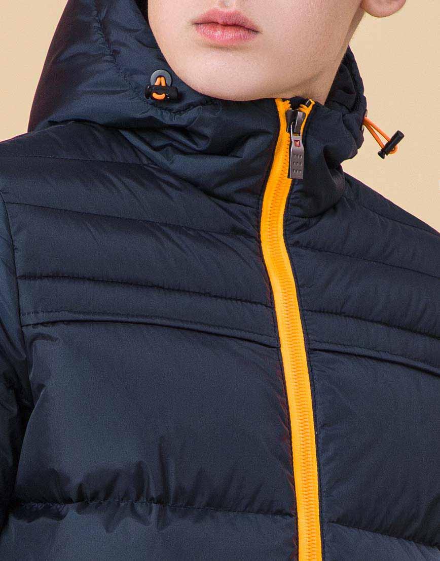 Модная куртка подростковая цвет темно-синий-оранжевый модель 71293 оптом фото 5