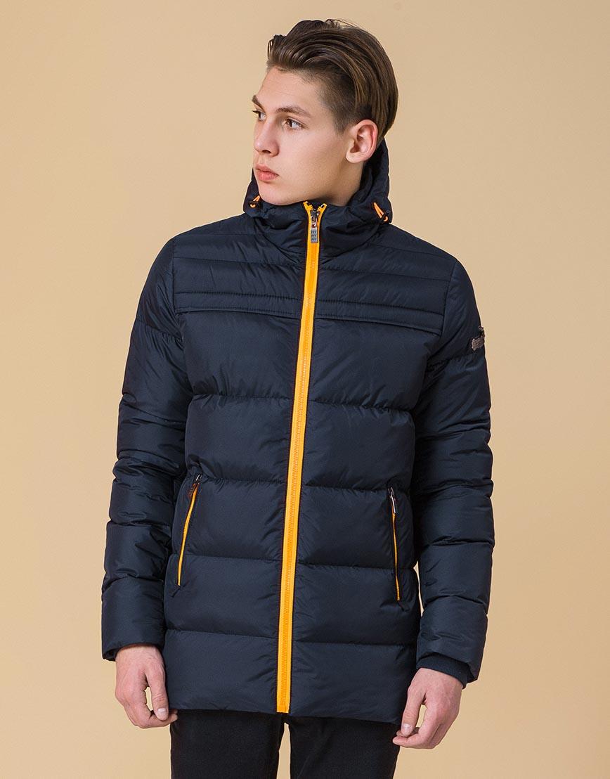 Модная куртка подростковая цвет темно-синий-оранжевый модель 71293 оптом фото 3