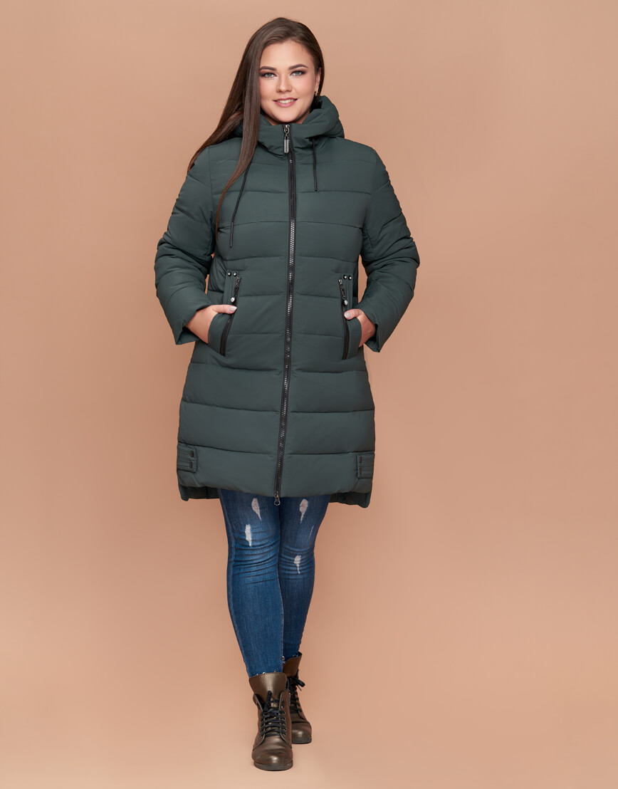 Женская зимняя куртка большого размера серо-зеленого цвета модель 25225