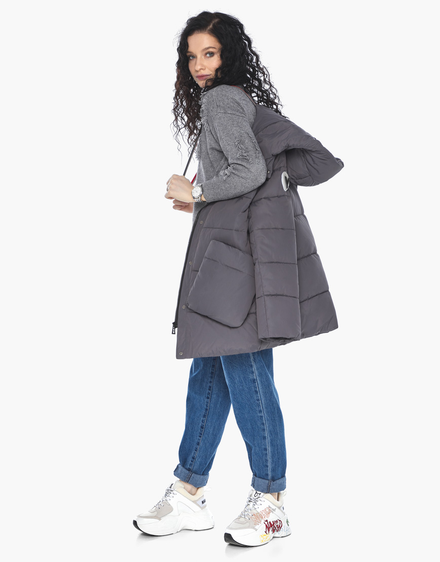Куртка пуховик Youth молодежный графитовый брендовый женский модель 25680 фото 3