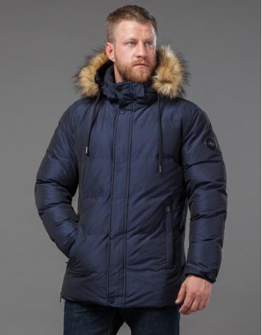 Теплая темно-синяя дизайнерская куртка модель 71550
