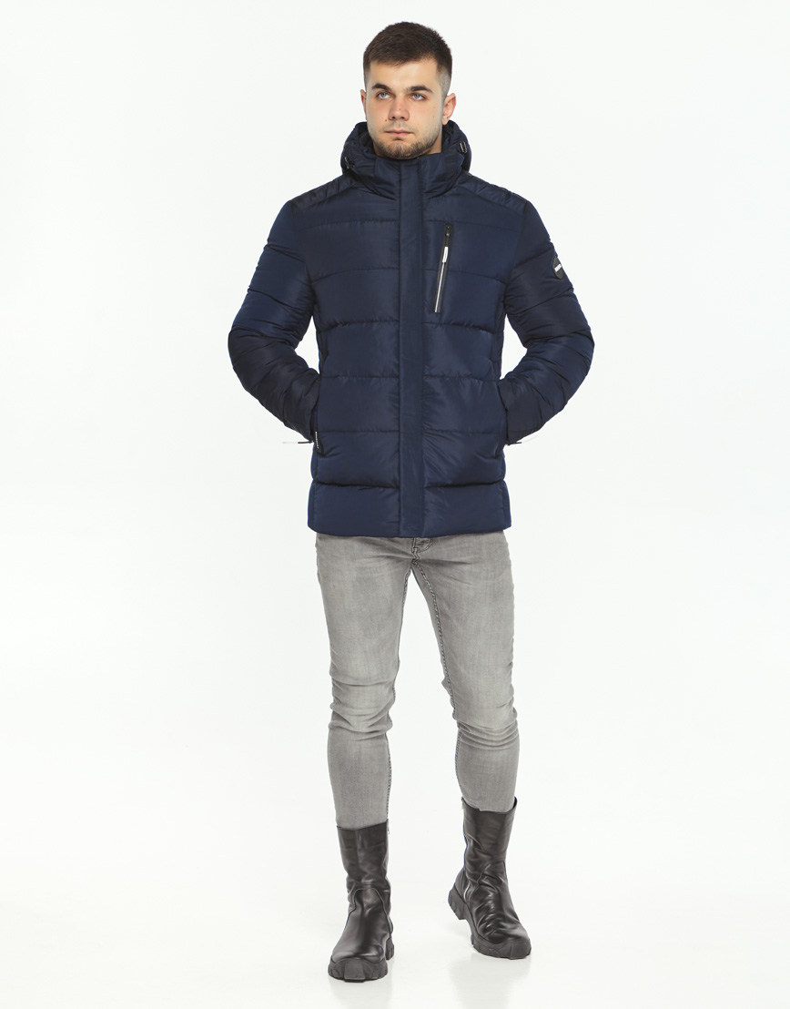 Темно-синяя куртка удобная на зиму модель 36570 фото 3