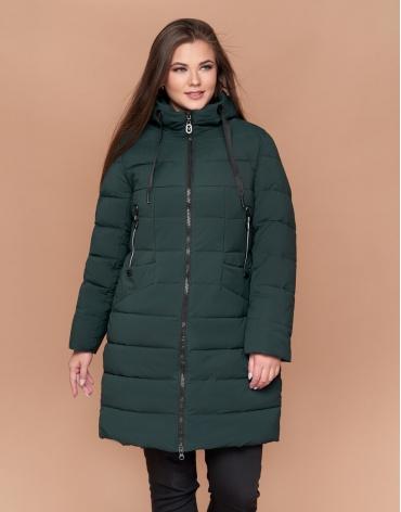 Высококачественная женская куртка большого размера цвет темно-зеленый модель 25275
