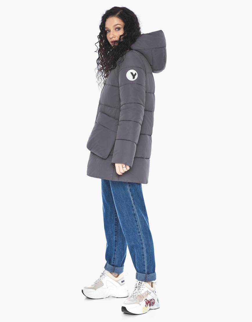 Куртка пуховик Youth молодежный графитовый брендовый женский модель 25680 фото 4