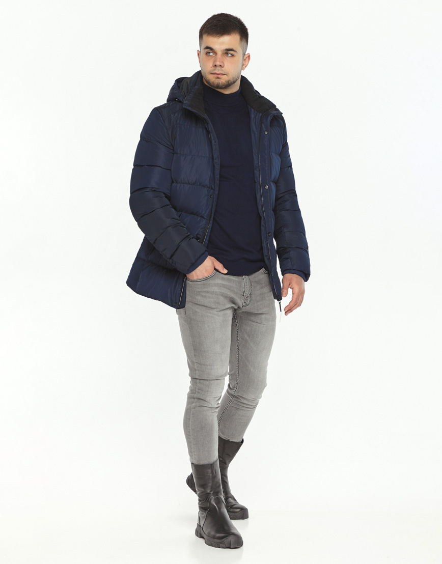 Темно-синяя куртка удобная на зиму модель 36570 фото 2