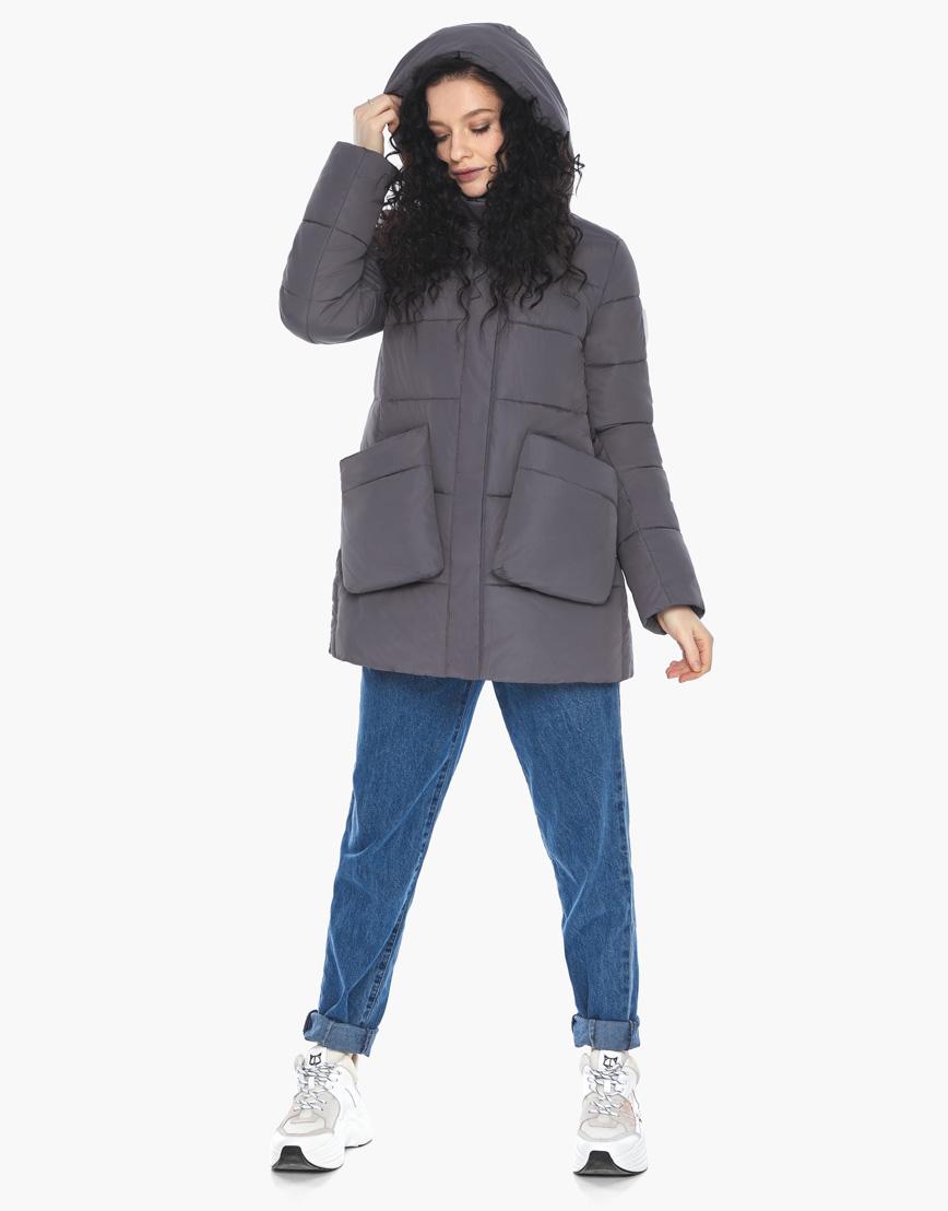 Куртка пуховик Youth молодежный графитовый брендовый женский модель 25680 фото 5