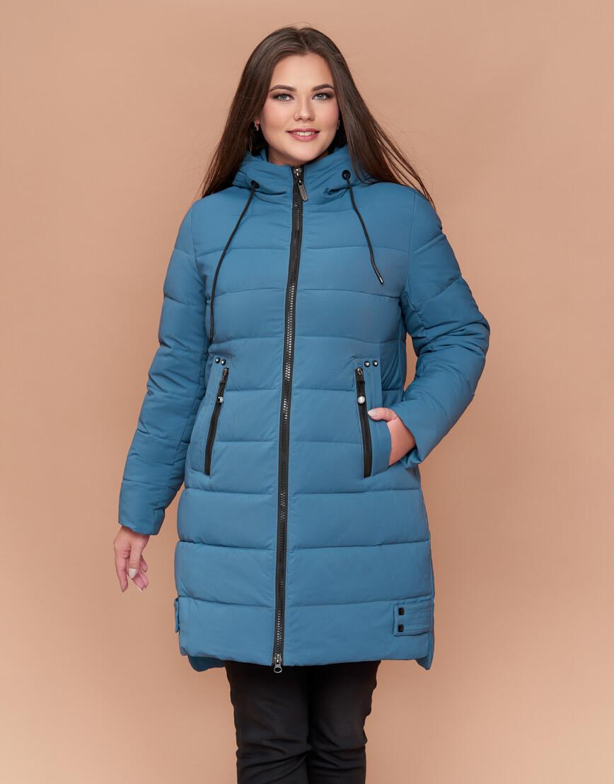 Темно-голубая женская зимняя куртка большого размера модель 25225 фото 3