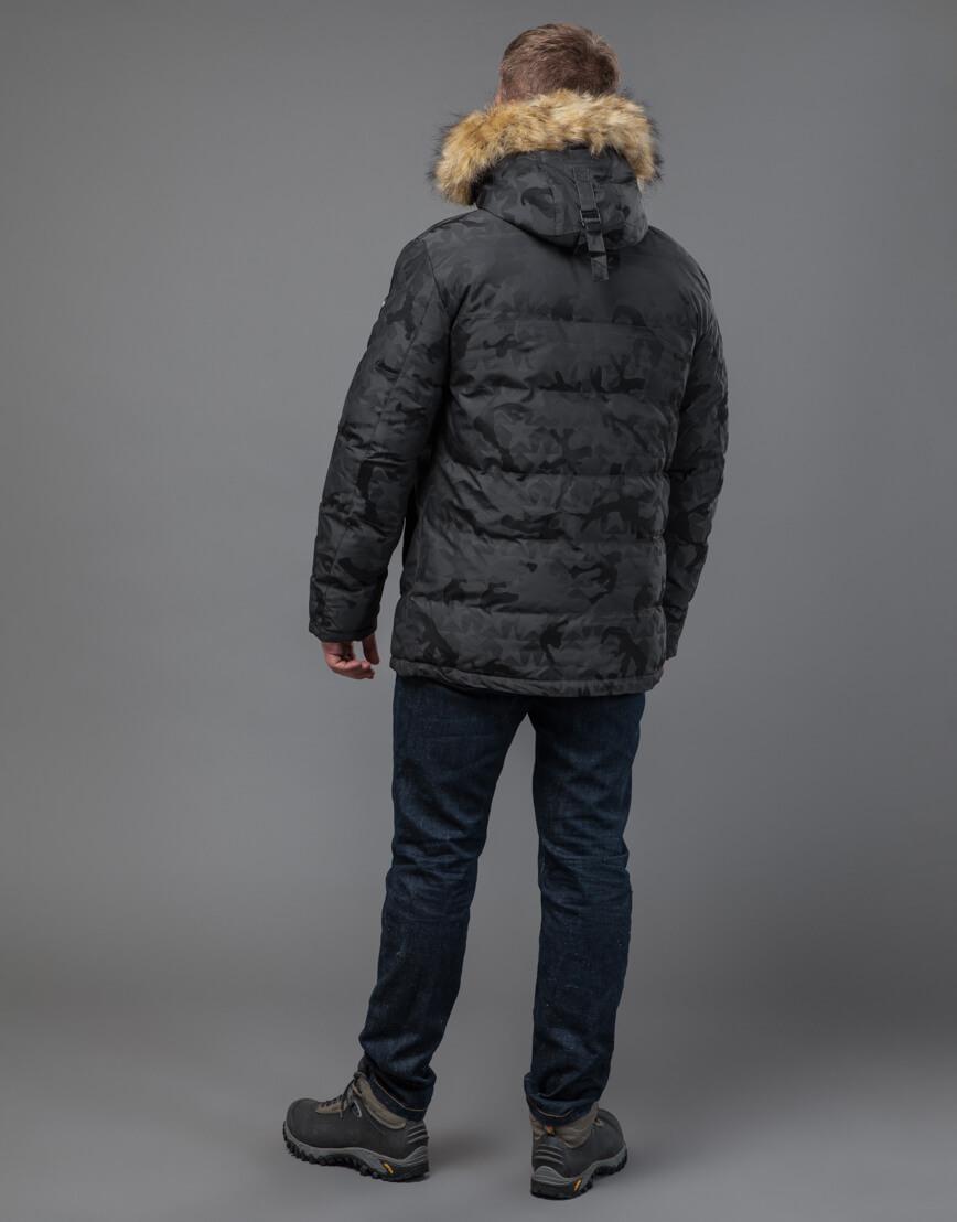Куртка темно-серого цвета дизайнерская модель 71368 фото 4