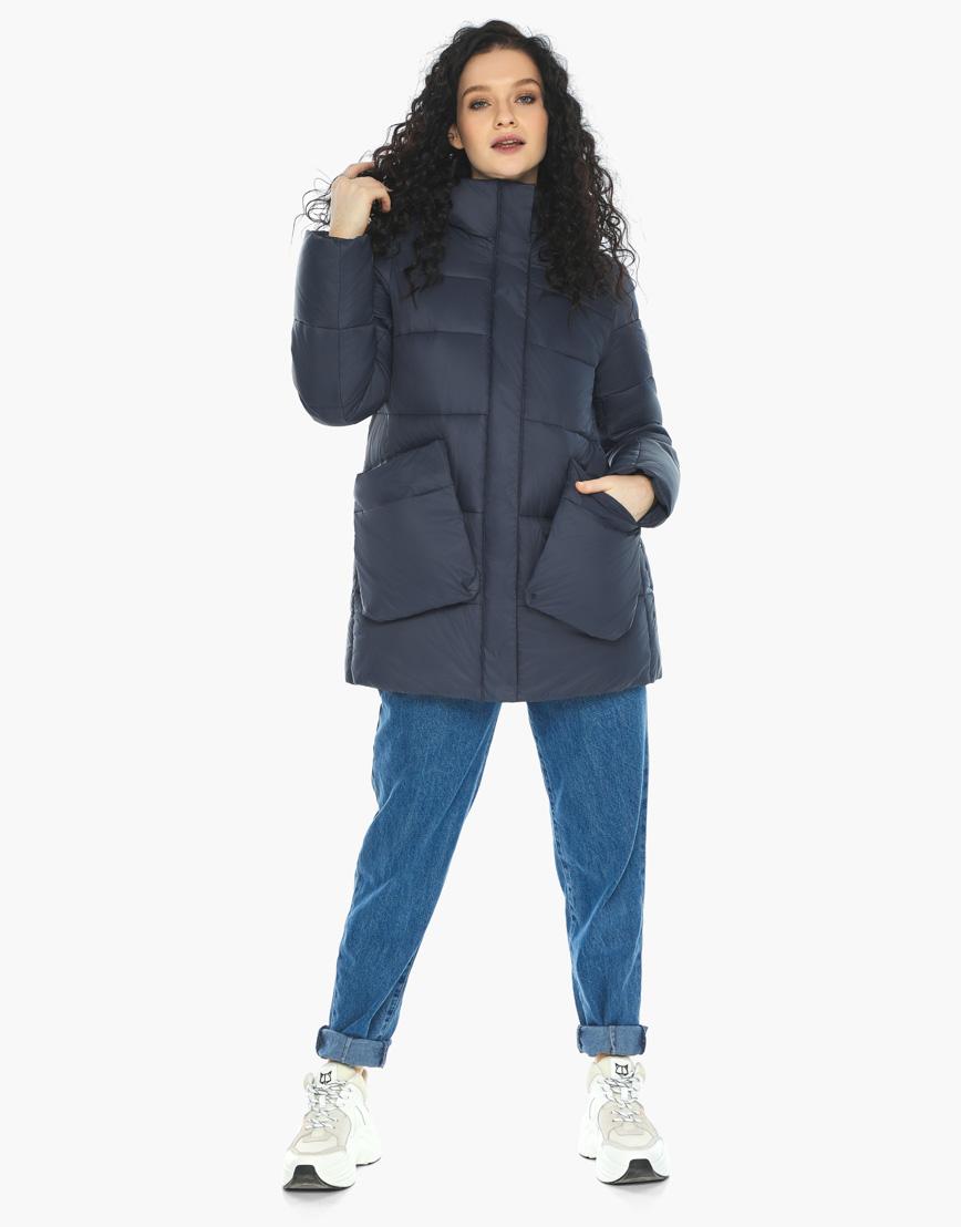 Куртка пуховик Youth молодежный темно-синий трендовый модель 25680 фото 2