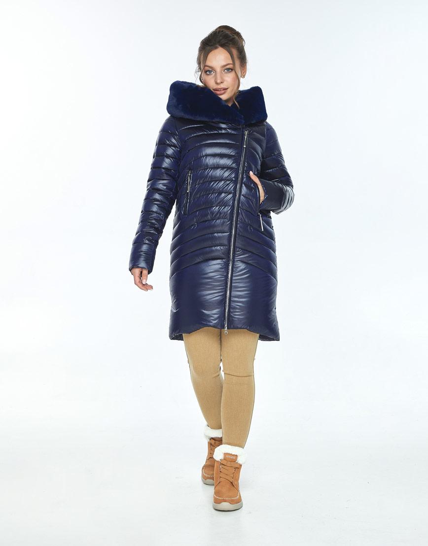 Куртка на молнии женская Ajento синяя зимняя 24138 фото 2