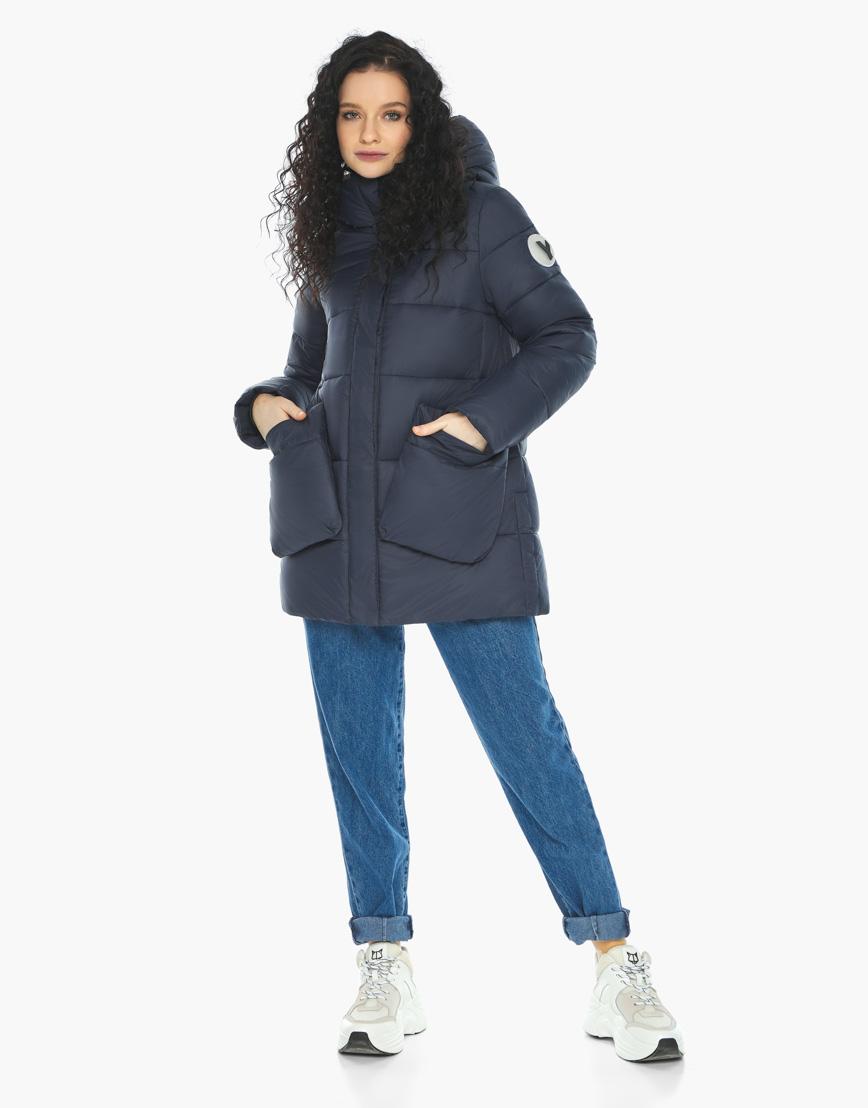 Куртка пуховик Youth молодежный темно-синий трендовый модель 25680 фото 5