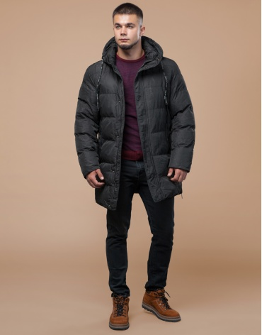 Дизайнерская современная куртка подростковая черная модель 25420 оптом
